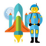 Vector Astronaut and space shuttle. Flat style colorful Cartoon illustration. Royalty Free Stock Image