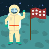 Vector astronaut stands on the planet with flag, Cosmic space background Stock Images