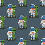 Vector astronauts in space seamless pattern character and having fun spaceman galaxy atmosphere system fantasy traveler Royalty Free Stock Image