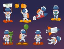 Vector astronauts in space, working character and having fun spaceman galaxy atmosphere system fantasy traveler man. Stock Images