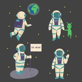 Vector astronauts in space, working character and having fun spaceman galaxy atmosphere system fantasy traveler man. Stock Photos