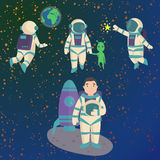 Vector astronauts in space, working character and having fun spaceman galaxy atmosphere system fantasy traveler man. Royalty Free Stock Photography