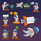 Vector astronauts in space, working character and having fun spaceman galaxy atmosphere system fantasy traveler man. Gravity floating journey suit astronomy royalty free illustration