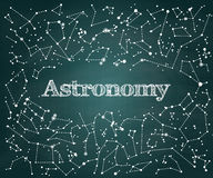 Vector Astronomy scientific school green chalkboard background Royalty Free Stock Images
