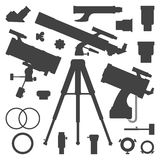 Vector astronomy telescope silhouette collection Stock Photos