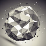 Vector asymmetric 3d abstraction, lattice geometric spherical te Royalty Free Stock Images