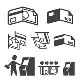 Vector ATM, Cash, Credit Card and Payment icons set Royalty Free Stock Images