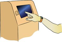 Vector ATM machine with attachment. Terminal for payment. Hand with a fitness bracelet is included in the account vector illustration