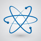 Vector atom. Illustration molecule of blue on a white background Stock Image