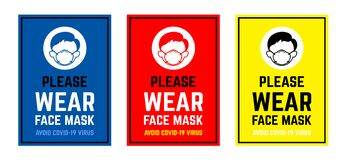 Free Vector Attention Sign Collection , Please Wear Face Mask Avoid Covid-19 Virus. Warning Or Caution Sign Royalty Free Stock Photography - 179694987
