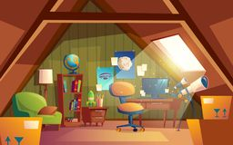 Vector attic interior, children playroom with furniture.