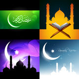 Vector attractive background set of ramadan kareem festival illu Royalty Free Stock Photo