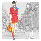 Vector attractive fashion girl goes for St. Peters Royalty Free Stock Image