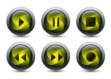 Vector audio buttons with gray frame Stock Photography