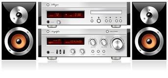 Vector audio estéreo del estante de los componentes de los sonidos de la música Imagen de archivo