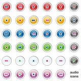 Vector audio web buttons Stock Photos