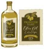 Vector Aufkleber für Olivenöl mit einem olivgrünen Zweig stock abbildung
