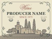 Vector Aufkleber für Wein mit Dorf mit einem Weinberg stock abbildung