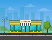 Vector ausführlichen Shop oder Speicher oder Markt auf Stadtbildhintergrund Lizenzfreie Stockbilder