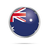Vector Australian flag Button. Australia flag in glass button st. Australia flag glass button style with metal frame Royalty Free Illustration