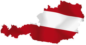 Vector Austria flag. Vector illustration of a map and flag from Austria Royalty Free Stock Photo