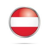 Vector Austrian flag Button. Austria flag in glass button style. Stock Photos