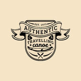 Vector authentic camp logo. Tourist sign with hand drawn canoe and paddles. Retro hipster badge of outdoor adventures. Vector authentic camp logo. Tourism sign Stock Photo