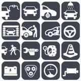 Vector auto geplaatste auto en mechanische pictogrammen de reeks van het autodeel van de vectorillustratie van het reparatiepicto Stock Afbeeldingen
