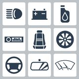 Vector auto parts icons set Royalty Free Stock Photo