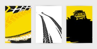 Grunge Tire Posters Set 17-18. Vector auto posters template. Grunge tire tracks backgrounds for portrait  poster, digital banner, flyer, booklet, brochure and Royalty Free Stock Photos