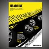 Grunge Tire Poster. Vector automotive banner template. Grunge tire tracks background for vertical poster, digital banner, flyer, booklet cover, brochure and web royalty free illustration