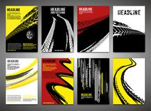 Vertical tire banners. Vector automotive posters template. Grunge tire tracks backgrounds for vertical  poster, digital banner, flyer, booklet, brochure cover Royalty Free Stock Images