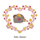 Vector autumn background with cute hedgehog Royalty Free Stock Photography