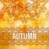 Vector autumn background. Golden Vintage frame Royalty Free Stock Photos