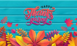 Vector autumn banner. Border of fallen autumn leaves on turquoise wooden background. Lettering text Happy Thanksgiving stock illustration