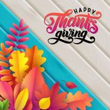 Vector autumn banner. Bouquet of fallen autumn leaves on turquoise wooden background. lettering text Happy Thanksgiving stock illustration