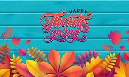Vector Autumn Banner Frontera de las hojas de otoño caidas en fondo de madera de la turquesa Acción de gracias feliz del texto de stock de ilustración