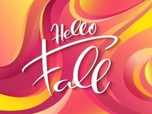 Vector autumn banner with hand lettering label - hello fall - on abstract background.  Stock Illustration