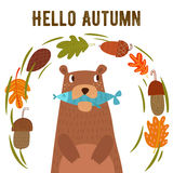 Vector autumn card with wreath from leaves and acorns. Vintage a Royalty Free Stock Photo