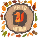 Vector autumn card with wreath from leaves and acorns. Vintage a Stock Photos