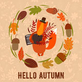 Vector autumn card with wreath from leaves and acorns. Vintage a Stock Photography