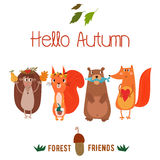 Vector autumn card with wreath from leaves and acorns. Vintage a Royalty Free Stock Photos