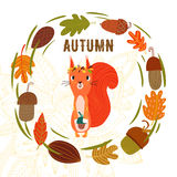 Vector autumn card with wreath from leaves and acorns. Vintage a Royalty Free Stock Image
