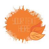 Vector autumn cover with orange leaves and spray Stock Photography