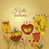 Vector autumn doodles card. Vector decorative invitation royalty free illustration