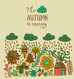 Vector autumn doodles card. Hand draw trees and leafs over the c. Ity. Lettering quote. Season of the rain, border illustration, greeting card, cute background Royalty Free Stock Photos