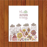 Vector autumn doodles card. Hand draw trees and leafs over the c. Ity. Lettering quote. Season of the rain, border illustration, greeting card, cute background Stock Photo