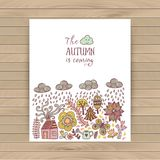 Vector autumn doodles card. Hand draw trees and leafs over the city. Lettering quote. Season of the rain, border illustration, gre. Eting card, cute background Stock Image