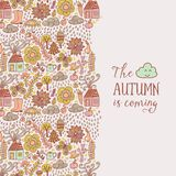 Vector autumn doodles card. Hand draw trees and leafs over the city. Lettering quote. Season of the rain, border illustration, greeting card, cute background vector illustration