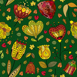 Vector autumn doodles seamless pattern. Use for wallpaper, pattern fills, web page background vector illustration